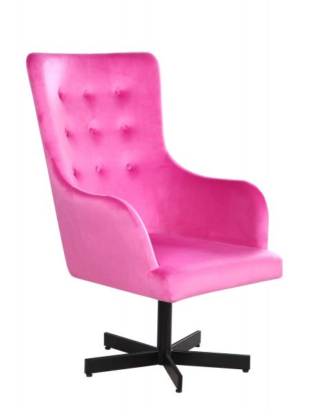 Sessel Villa Bezug Stoff Samt pink Gestell Stahl schwarz