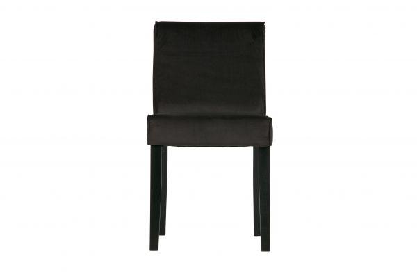 Stuhl Tessel 2er Set Bezug Velvet anthrazit Beine Holz schwarz
