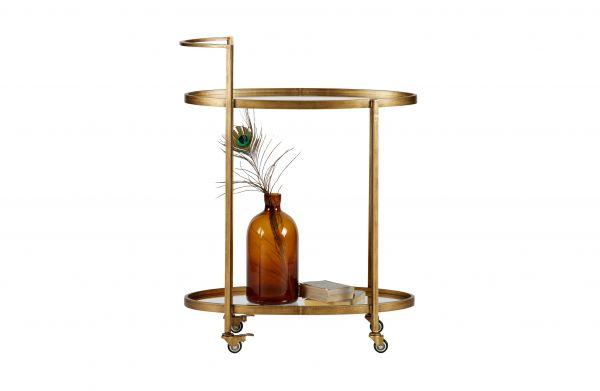 Glas Servierwagen Push Metall gold