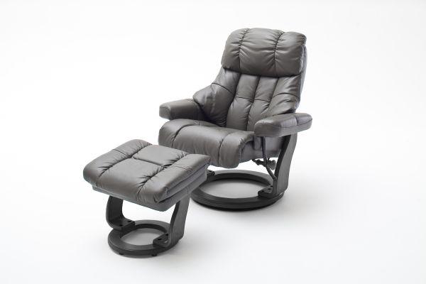 Relaxsessel CALGARY XXL Relaxer 180 mit Hocker Leder schlamm