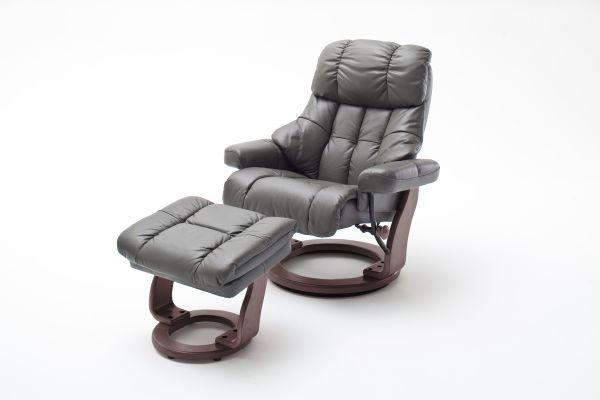 Relaxsessel CALGARY Relaxer inkl. Hocker Leder schlamm