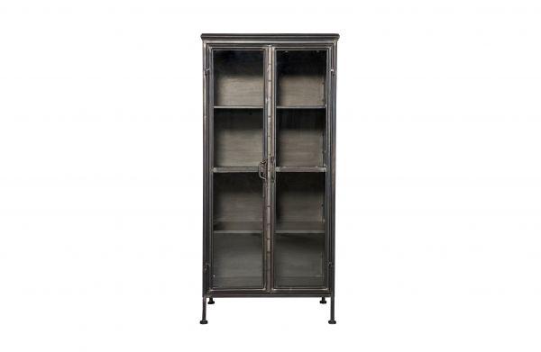 Vitrinenschrank Puristic Metall schwarz und 2 Türen