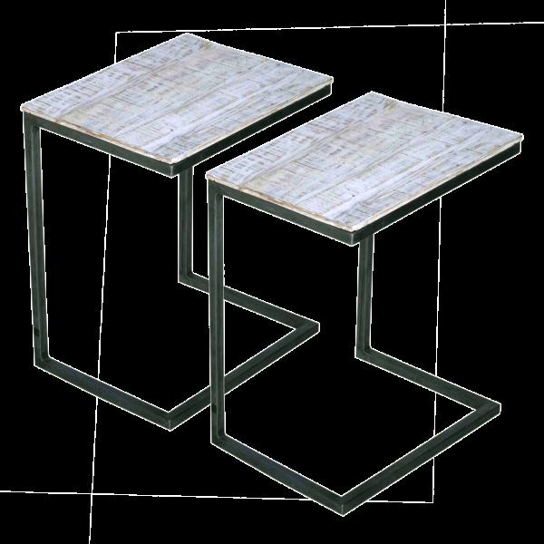 Sofatisch Beistelltisch 2er Set Metall-Gestell altsilber