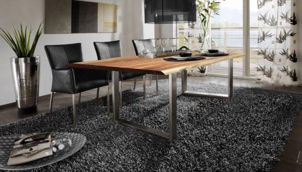 Esstisch Platte Akazie mit Baumkante Gestell Stahl 160 cm