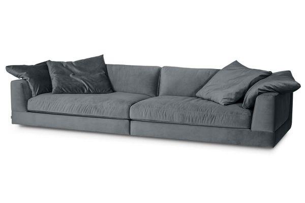 XXL Sofa Infinity Bezug Samt grau inkl. Kissen