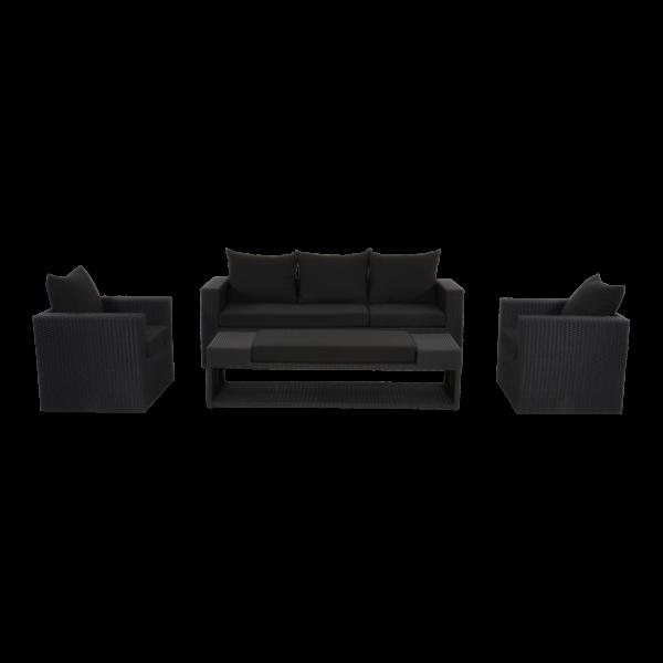 Outdoor Lounge Set Ibiza schwarz Geflecht