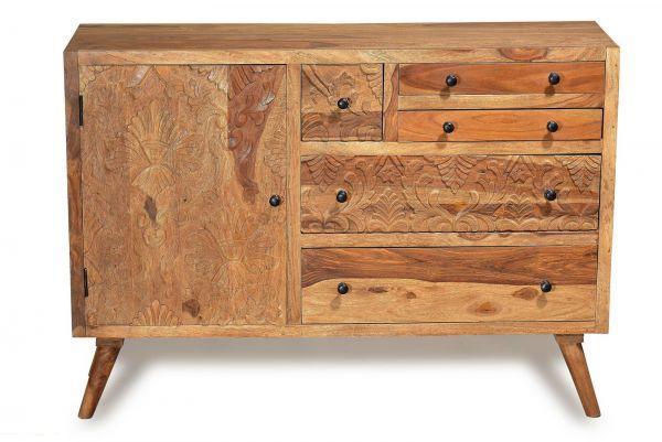 Sideboard Carved Sheesham Massiv Natur