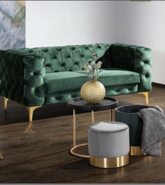 Sofa Winchester Bezug Samt dunkelgrün