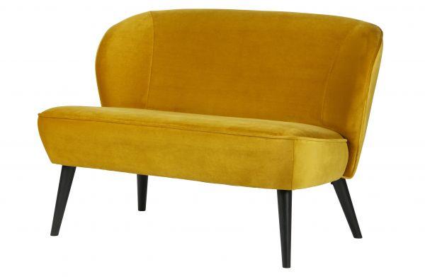 Sitzbank Sara Bezug Samt gelb Beine schwarz