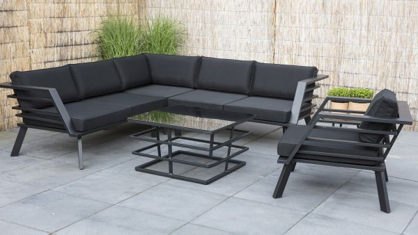 Outdoor Eck Set Lounge Aluminium schwarz