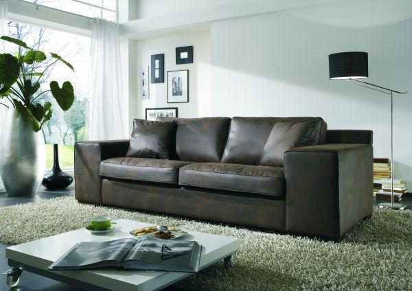 3-Sitzer Sofa Sabien Eco Leder braun
