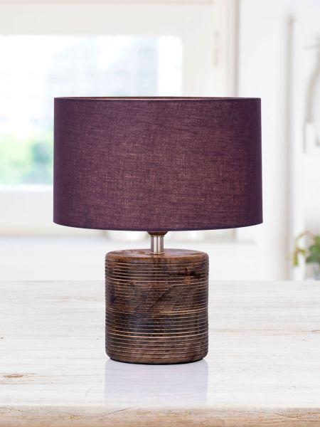 Tischleuchte mit Holzsockel braun