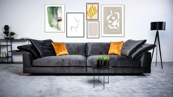 XXL Sofa Infinity Bezug Samt dunkelgrau inkl. Kissen