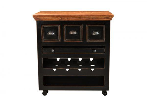 Küchenwagen CORSICA Mango Holz schwarz