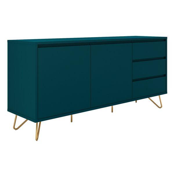 Sideboard Lena mit 2 Türen MDF blau beine Gold