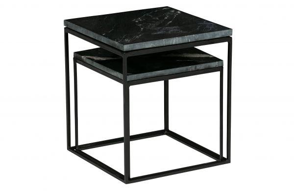 Beistelltisch Metallic 2er Set Marmor schwarz