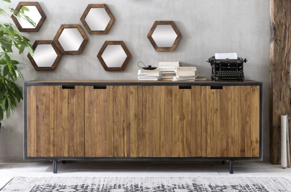 Sideboard Toba Teak Holz Massiv Metall