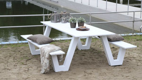 Outdoor Lounge Tisch -Bank Breeze Aluminium weiß