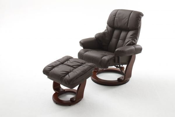 Relaxsessel CALGARY Relaxer inkl. Hocker Leder braun