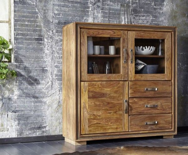 Highboard Sina Sheesham-Holz Massiv