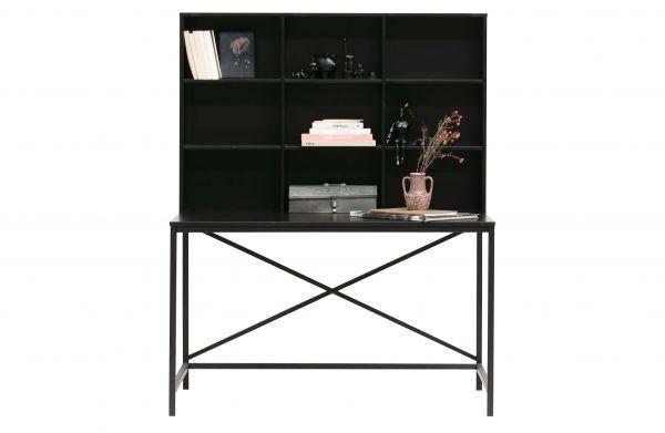 Schreibtisch Elvin Metall-Holz schwarz