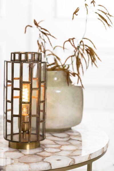 Tischlampe Trene Glas Antik gold