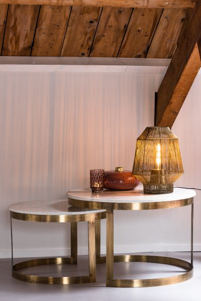Couchtisch Perlato 2er Set Marmor Platte gold