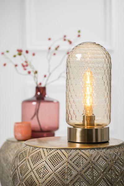 Tischlampe Domani Glas Bernstein Antik Gold