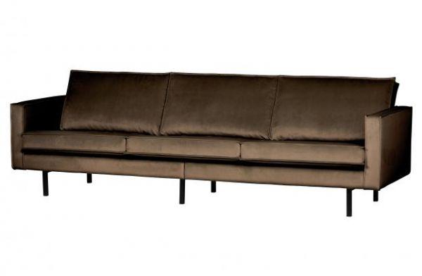 Sofa Rodeo 3- Sitzer Bezug Samt taupe Beine schwarz