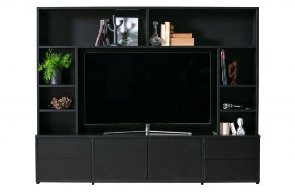 TV-Schrank Maxel Holz Kiefer schwarz [fsc]