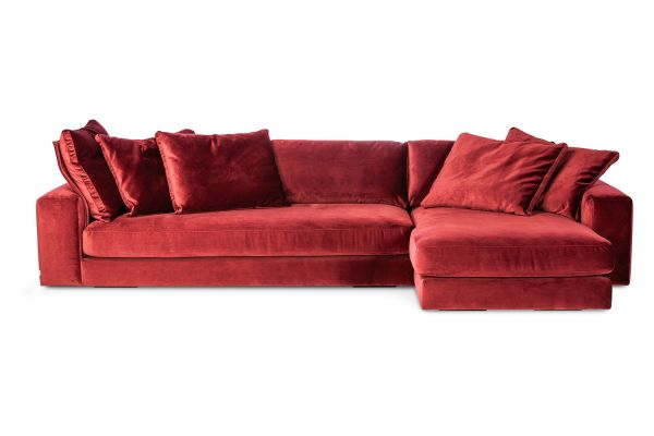 Ecksofa Blend Bezug Samt rot inkl. Kissen