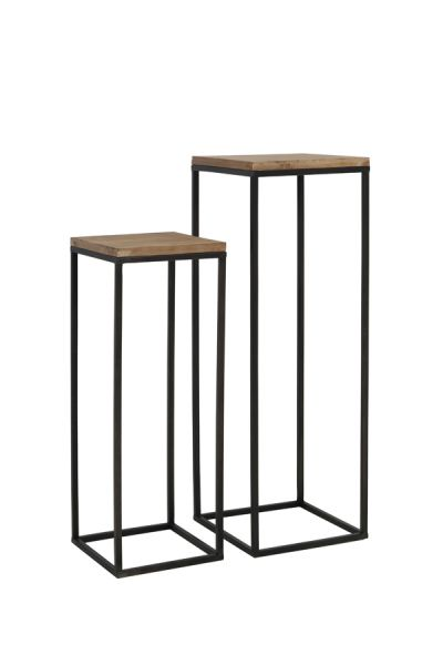 Säule Yarula 2er Set Tisch Gestell Metall schwarz