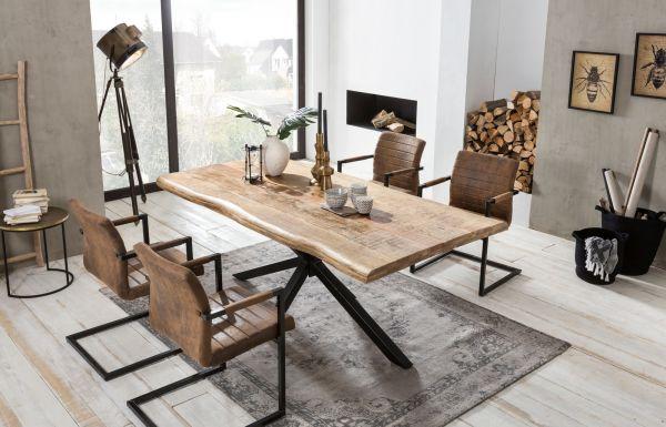Esstisch Leon Mango Holz mit Baumkante