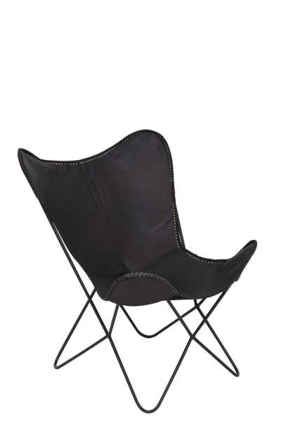 Sessel Butterfly Leder schwarz Gestell schwarz