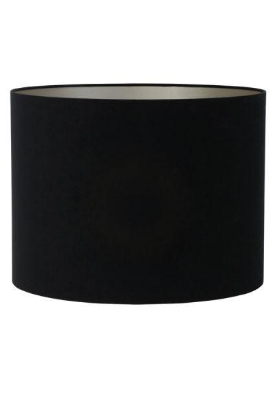 Lampenschirm Zylinder Velours schwarz-tappe