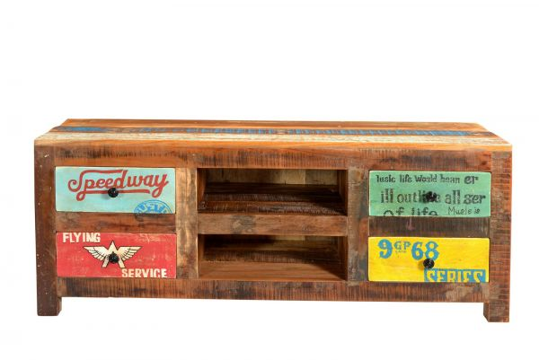 Tv Lowboard Speedway Eco Holz Bunt Vintage Tv Mobel Wohnzimmer