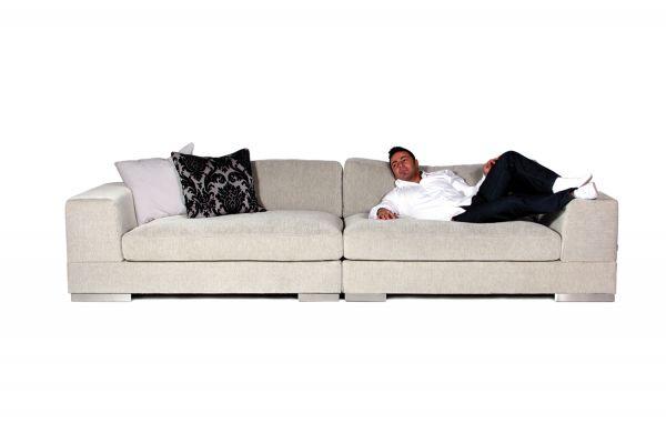XXL Sofa 4 & 3 Sitzer Lazy Bezug hellgrau