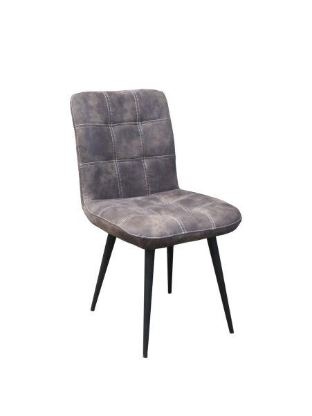 Stuhl Lola 2er set Bezug Stoff grau Beine Stahl schwarz