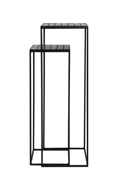 Beistelltisch Säule Manjuto 2er Set Metall schwarz