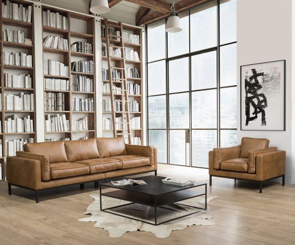 3- Sitzer Sofa Western Bezug Eco Leder cognac