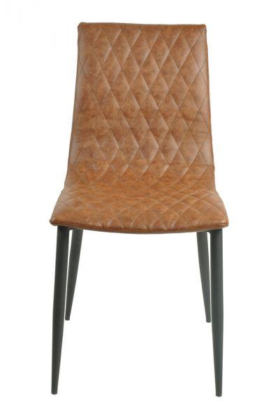 Stuhl Turin 2er Set Bezug Kunstleder braun
