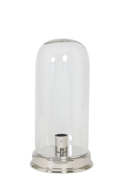 Tischleuchte Bouali Glas klar Fuß silber