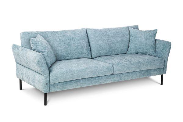 3-Sitzer Sofa Chic Bezug hellblau Beine schwarz