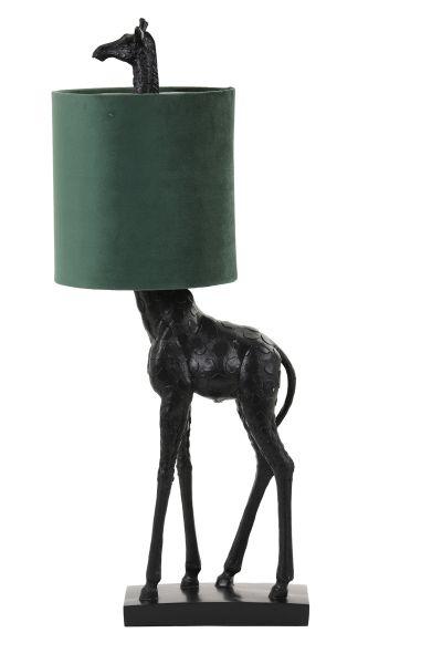 Tischleuchte Giraffe Schrim Samt dunkelgrün