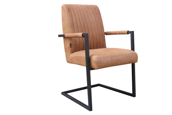 Stuhl Prato Bezug Cognac Gestell schwarz