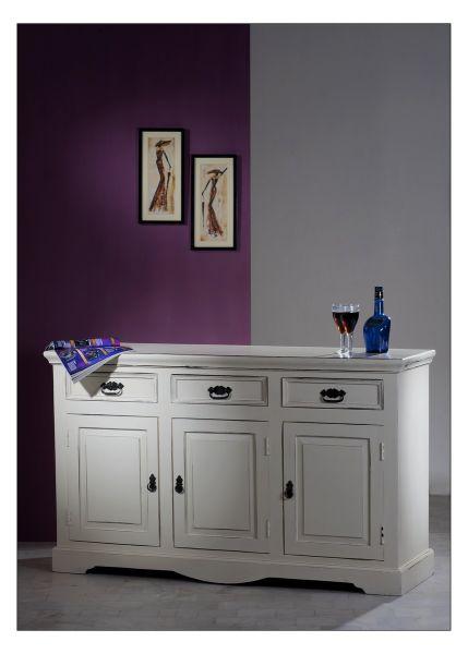 Sideboard TOLEDO MAngoholz Shaby Chic Style weriß Lendhaus