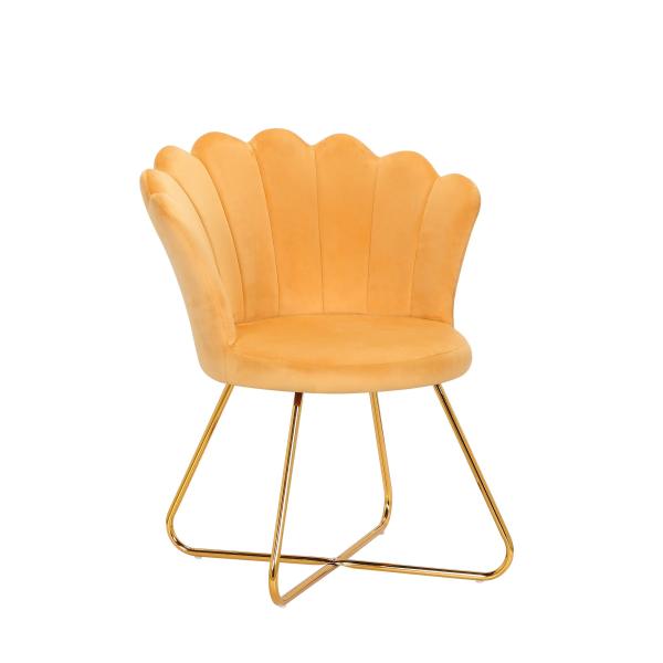 Stuhl Lisa Bezug Samt gelb Gestell Metall gold