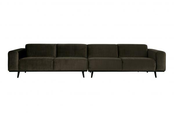 XL Sofa Statement 4-Sitzer Bezug Velvet grün Beine schwarz
