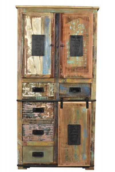 Schrank aus Altholz mit Schbkästen bunt Vintage