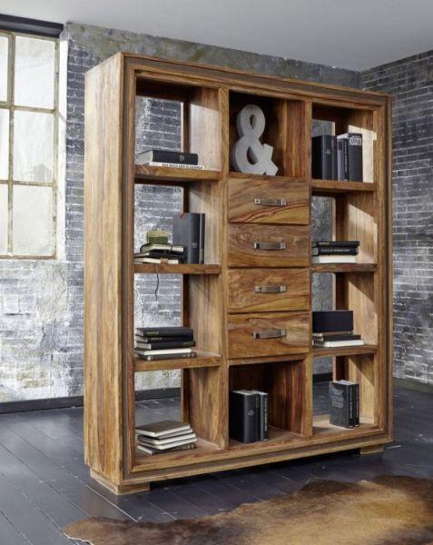 Raumteiler Regal Sina Sheesham-Holz Massiv